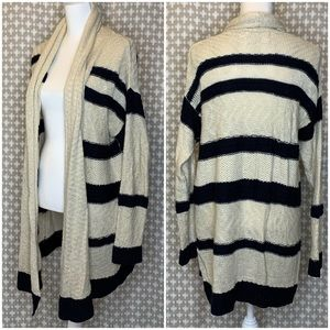 ANTHRO SLOANE ROUGE Navy White Stripe Cardigan S